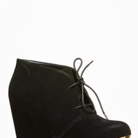 Bamboo Lace Up Round Toe Wedge Bootie
