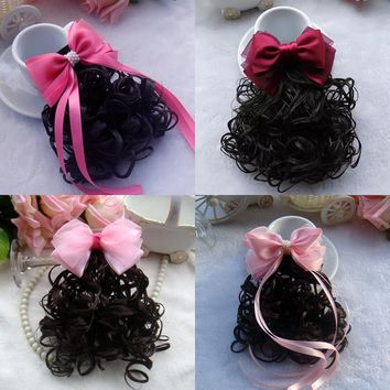 1 PCS Fashion Baby Bowknot Wavy Ponytail Wigs Hair Clips Hairpiece Girls Hairpins Children Hair Accessories Princess Hairgrips