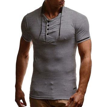 Summer T shirt Men Tshirt Homme Mens Solid Short Sleeve Henley Shirt Brand Slim Fit Stand Collar V Neck Tee Shirt T-shirts