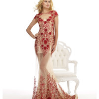 Nude & Red Lace Sheer Mermaid Dress
