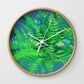"""Fern"", floral art, green &  blue Wall Clock by Clipso-Callipso"