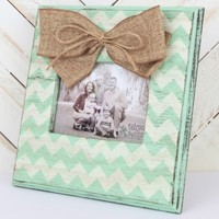 Hand-Painted Frame with Burlap Bow