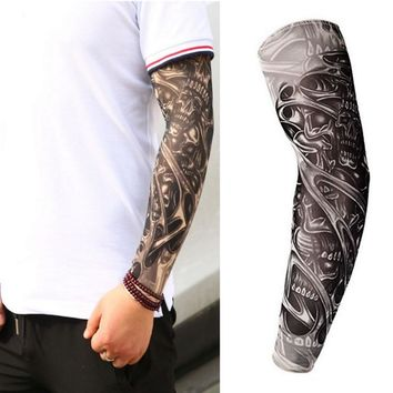 Fake Temporary Tattoo Sleeves Tattoos Full Long Slip On Arm Tattoo Sleeve Kit Men Elastic Nylon Glove Tattoos black skull design