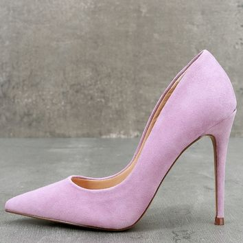 Daisie Lavender Suede Leather Pumps
