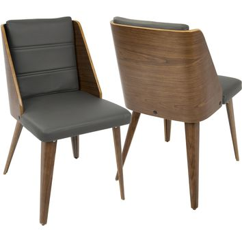Galanti Mid-Century Modern Dining Chairs, Walnut Wood & Grey PU (Set of 2)