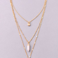 Druzy, Stone and Circle Triple Chain Necklace - Purple