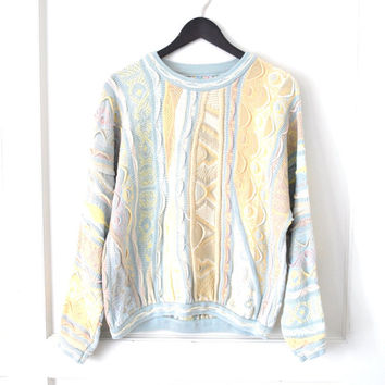 vintage Coogi sweater 1980s pastel textured jumper AUTHENTIC coogi designer pull over sweater medium