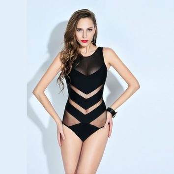 Black Mesh Bathingsuit Siamese Triangle Swimsuit Bikini Set Swimwear