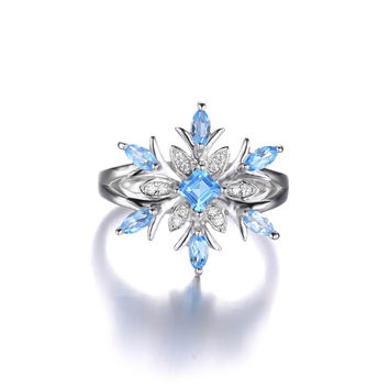 0.8ct Snowflake Genuine Blue Topaz Ring Solid 925 Sterling Silver