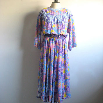 Vintage 1980s Dress DIANE FREIS Blue Pink Abstract Georgette Dress Large