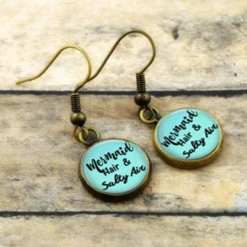 Mermaid Earrings - Mermaid Hair and Salty Air -  Blue Vintage Bronze Dangle