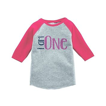 Custom Party Shop Girls' I am One Birthday Vintage Baseball Tee 2T Grey and Pink