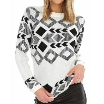 Bobi Jacquard Crew Neck Sweater