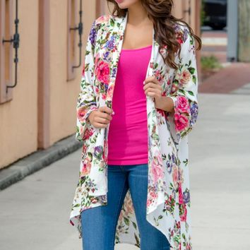 Out Of Time Floral Kimono Cardigan Cover Up Shop Simply Me Boutique – Simply Me Boutique