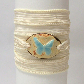 Cream Silk Wrap Bracelet ~ Hand Made Fired Ceramic Connector ~ Blue Butterfly ~ Hand Dyed 100% Silk Ribbon