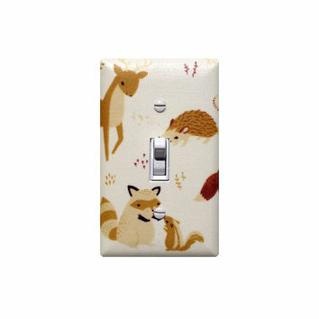 Fort Firefly Light Switch Plate Cover / Baby Boy Girl Gender Neutral Nursery Decor / Hedgehog Deer / Birch Organic Fabric Shroom