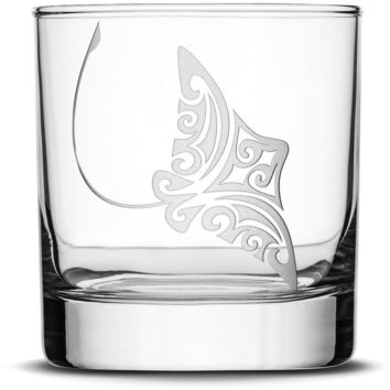 Whiskey Glass with Tribal Stingray, Deep Etched