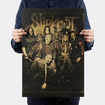 Free shipping,Slipknot Heavy Metal/ROCK BAND/kraft paper/bar poster/Wall stickers/Retro Poster/decorative painting 51x35.5cm