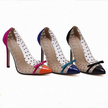 New Summer style women's sexy high heels Pointed toe Butterfly Bowtie Rivets stiletto platform sandals ladies woman pumps shoes