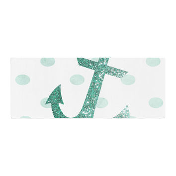 "Nika Martinez ""Glitter Anchor in Mint"" Teal Bed Runner"