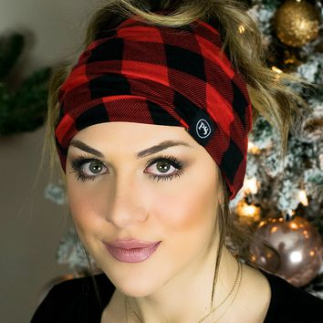 Peek a Boo Beanie- Red Plaid