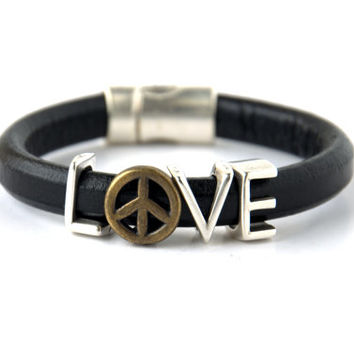 SALE % 30 off!Unisex Peace and Love Spacer Regaliz Black Greek Leather Bracelet