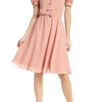 Gal Meets Glam Collection Ellie Crepe Puff Sleeve Dress | Nordstrom