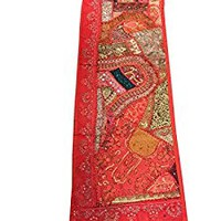 "Patchwork Orange Table Runner Vintage Sari Zari Embroidery Wall Hanging 60""x18"""
