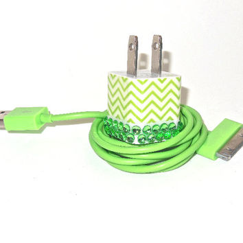 iPhone Charger Decorated with Green Chevron Bling by PersonalPower