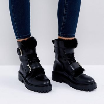 Depp Leather Faux Fur Lined Hiker Boot at asos.com