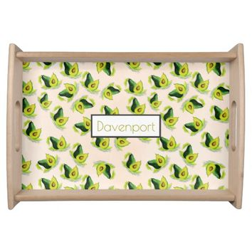 Green Avocados Watercolor Pattern Personalized Serving Tray