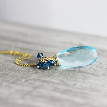 Blue Gemstone Necklace, Gold Fill Necklace, Sky Blue Necklace, Blue Quartz Necklace, Teal Blue, Wire Wrap Necklace, Pendant Necklace