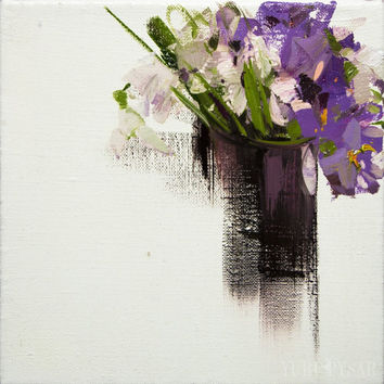 Floral Oil Small Painting, Lilac Flowers Painting, Crocuses Wall Art, Still Life With Flowers Canvas Art