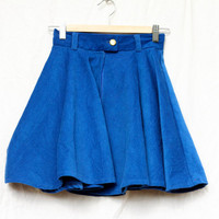 High waisted electric blue corduroy circle skirt