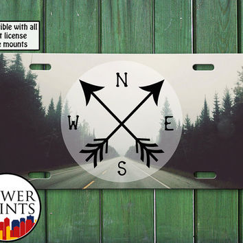 Compass Arrows Open Road Travel Wanderlust Tumblr Inspired Cute Trees For Front License Plate Car Tag One Size Fits All Vehicle Custom
