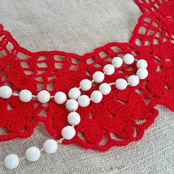 Red lace collar Crochet lace cotton necklace Handmade crocheted necklace Victorian collars dress Neck accessory Bibs Collars Womens lace
