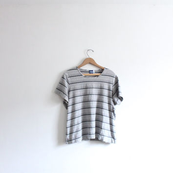 Grey Striped 90s Baggy Tee