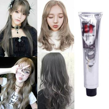 Hot 100ml Hair Color Cream Natural Permanent Professional DIY Dye Hairs Smoky Grey Coloring Light Gray Flaxen Style H7JP