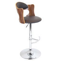 Lumisource Cello Bar Stool  in Walnut + Brown Matte PU