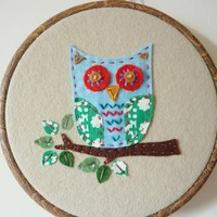 Hand Stitched Embroidery Hoop Owl W.. on Luulla