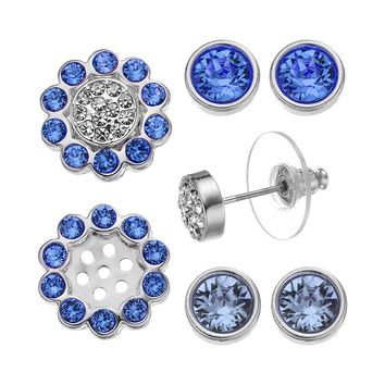 Crystal Colors Silver Tone Interchangeable Flower Jacket & Stud Earring Set - Made with Swarovski Elements (Blue)