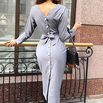 Sexy back split button women dress backless o neck long sleeve wrap midi dress vestidos Bodycon evening party dress of lady