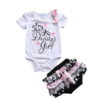 Letter Print Bodysuit + Ruffle Short Newborn Baby Girl Clothes