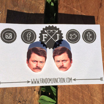 Ron Swanson Ear Rings