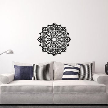 Mandala Wall Decal Mandala Wall Sticker Round Ornament Indian Decal Arabic Decor Vintage Boho Meditation Yoga Wall Art Meditation Tribal