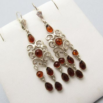 Sterling Amber Chandelier Earrings Vintage Jewelry E7296