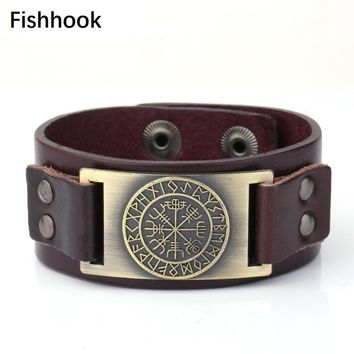 fishhook Adjustable 2 Options Snaps Button Wristband Leather Bracelets Scandinavian 24 Norse Runes Viking Brass Charms Jewelry