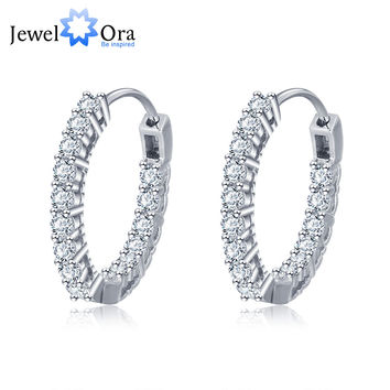Trendy 925 Sterling Silver Hoop Earrings For Women Cubic Zirconia New 2016 (JewelOra EA101678)