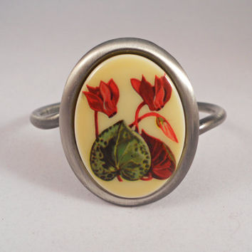 "Cameo Bracelet... Beautiful Cyclamen Flowers on Cabochon Bracelet... Antiqued Silver Finish, -  Size 40"" x 30""..."