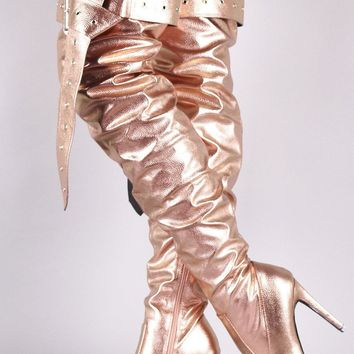 Metallic Slouchy Buckled Pointy Toe Stiletto Over The Knee Boots